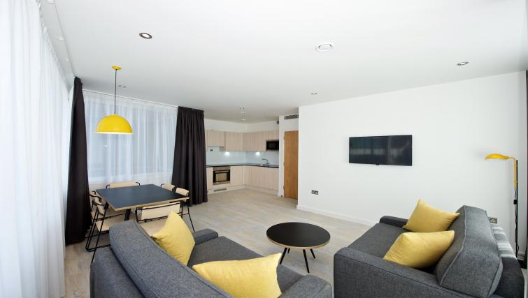 Large living room, open plan kitchen and dining area