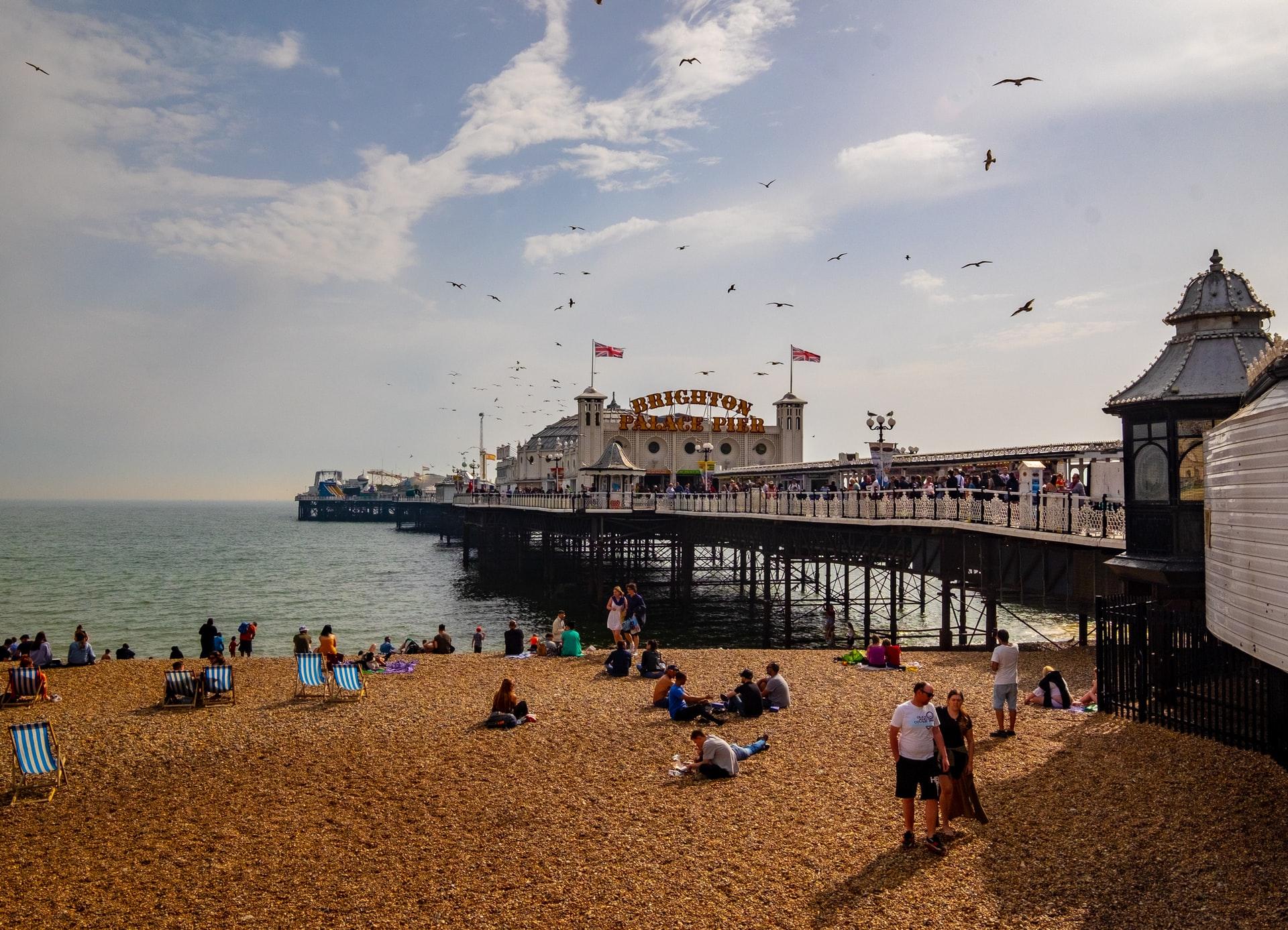 Sandy beach and Brighton Pier